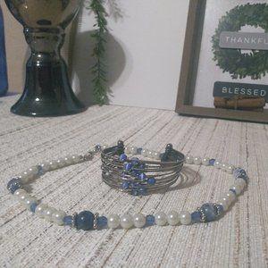 Vintage Pearl Silver Beaded Necklace Bracelet Set